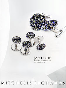 Jan Leslie Marcasite Cufflinks and Stud Set as seen in Mitchells|Richards catalogue