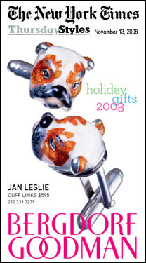 Jan Leslie Hand-Painted Bulldog Cufflinks as seen in New York Times